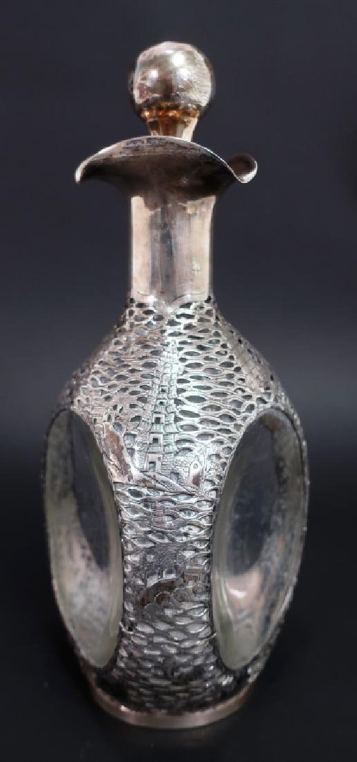 Chinese Export Silver Overlay Glass Decanter, 1910 - 2