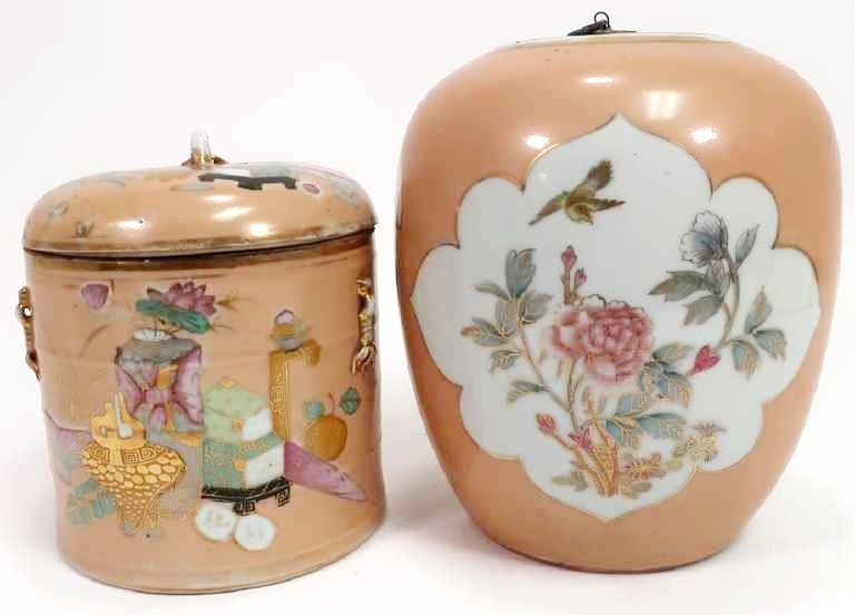 2 Chinese Porcelain Containers, 19th c.