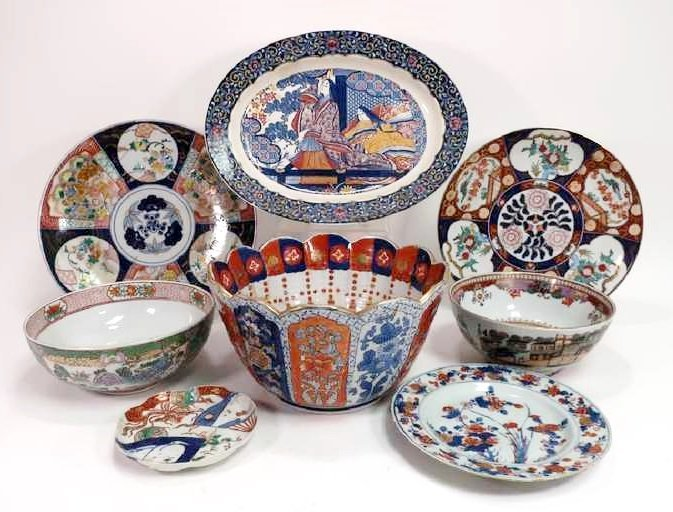 Lot of 8 Imari & Other Style Bowls and Plates