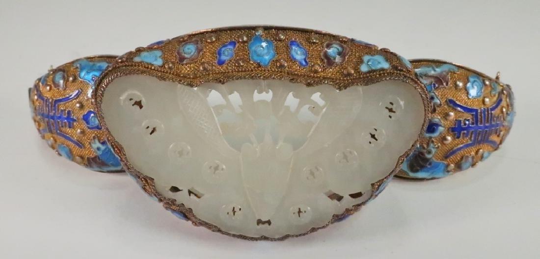 Chinese Gold Vermeil White Jade & Enamel Bracelet