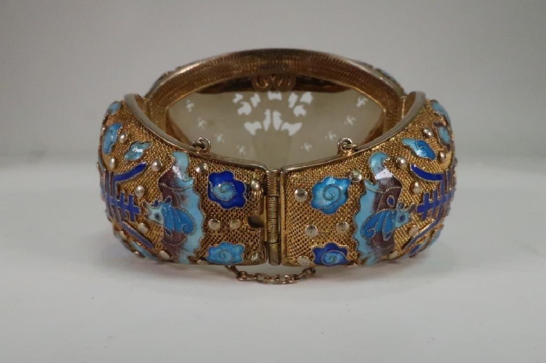 Chinese Gold Vermeil White Jade & Enamel Bracelet - 2