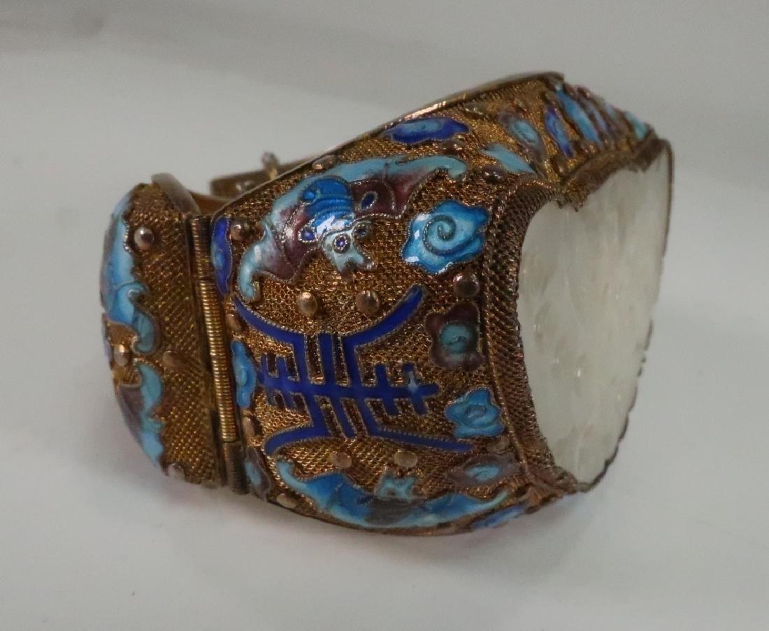 Chinese Gold Vermeil White Jade & Enamel Bracelet - 3