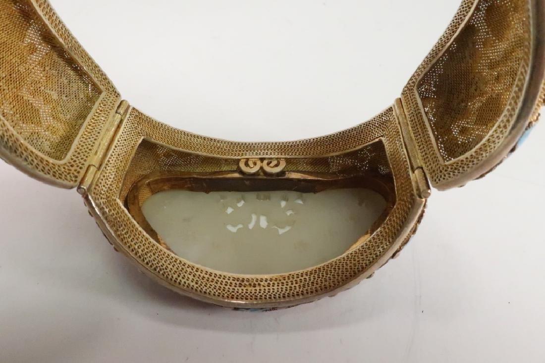 Chinese Gold Vermeil White Jade & Enamel Bracelet - 4