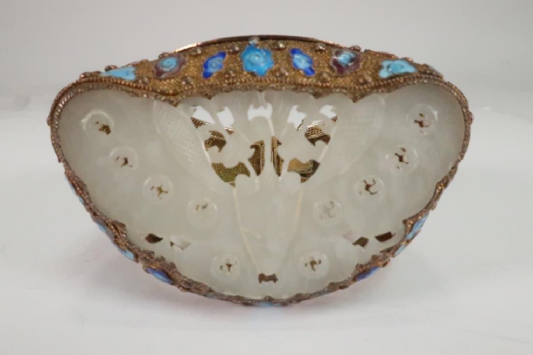 Chinese Gold Vermeil White Jade & Enamel Bracelet - 5