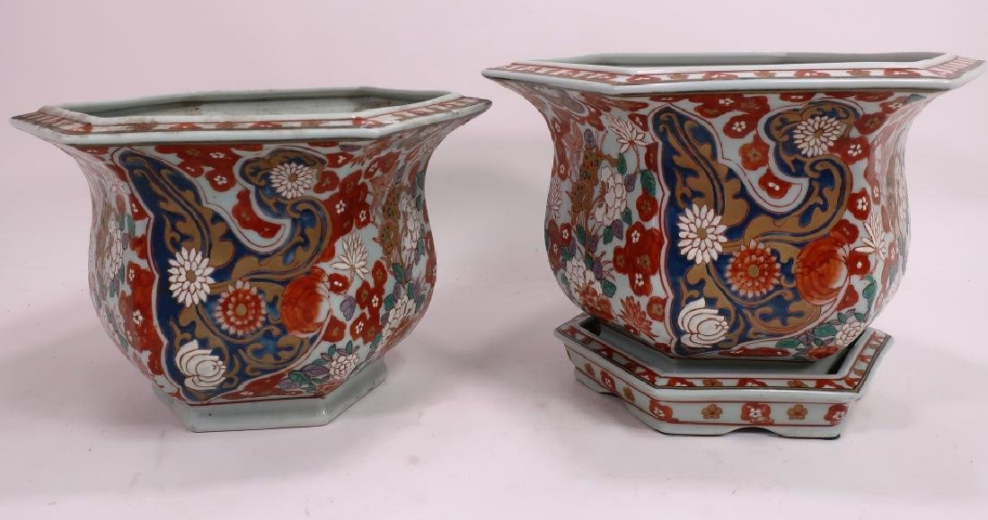 2 Chinese Hexagonal Jardinieres with Florals