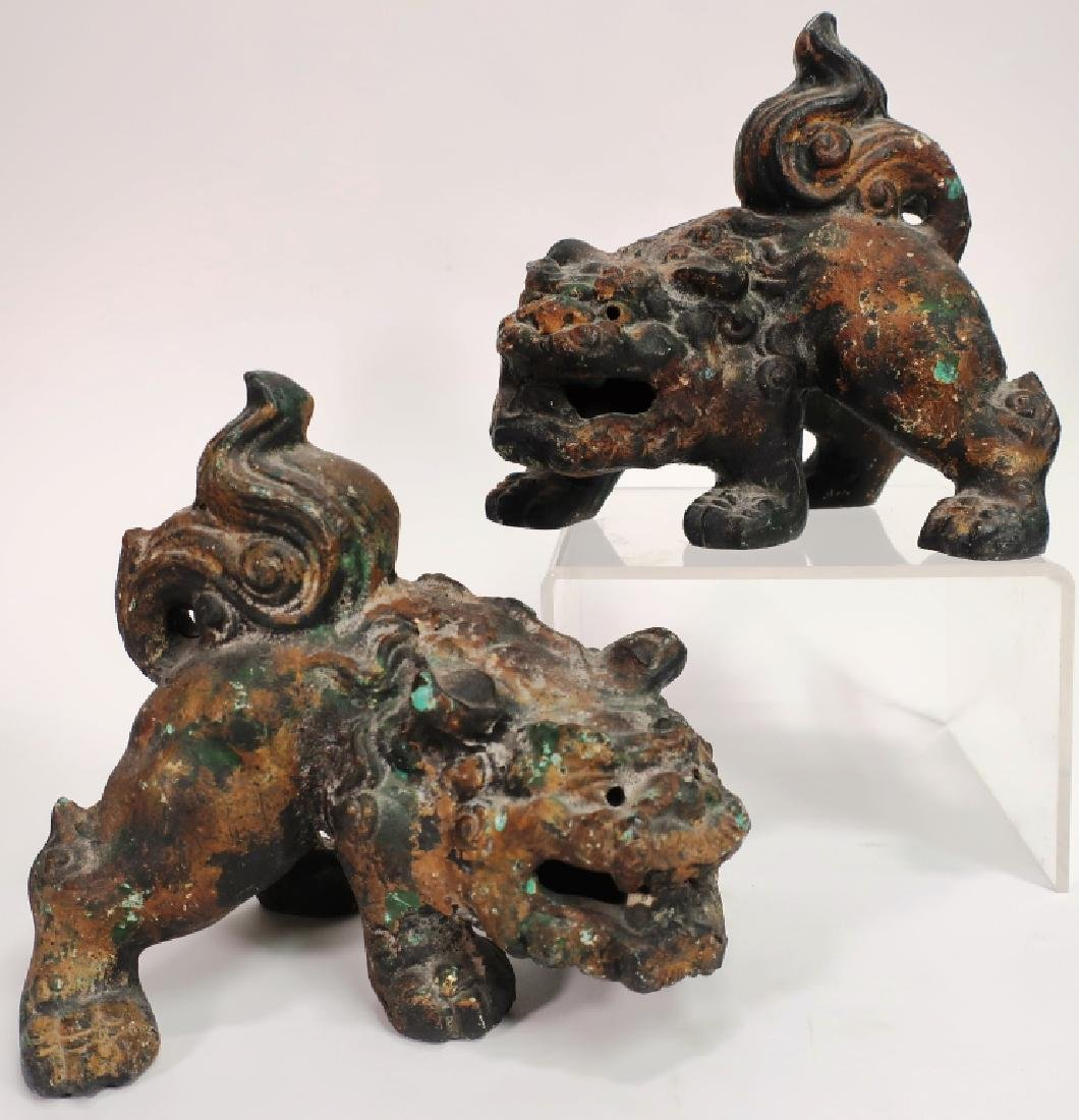 Pair of Chinese Parcel Gilt Foo Dogs