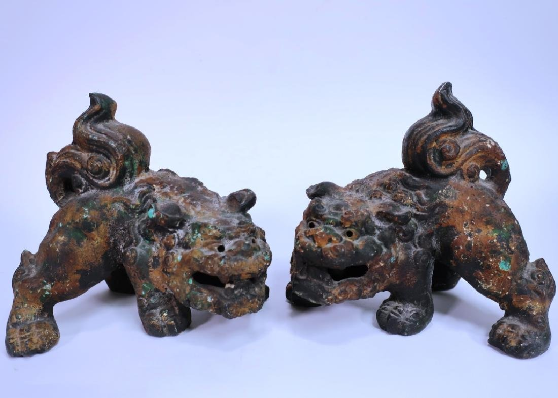 Pair of Chinese Parcel Gilt Foo Dogs - 2