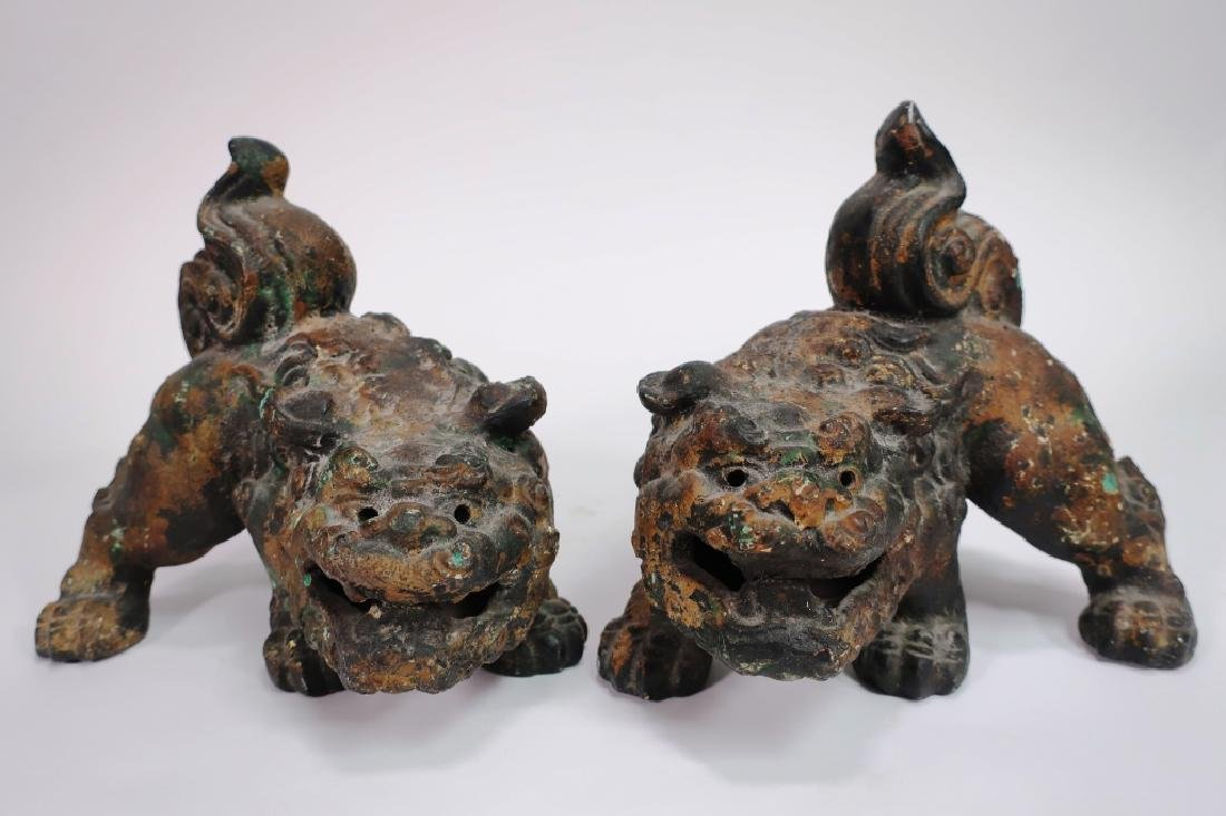 Pair of Chinese Parcel Gilt Foo Dogs - 3