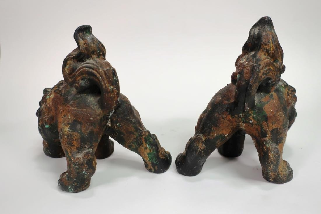 Pair of Chinese Parcel Gilt Foo Dogs - 4