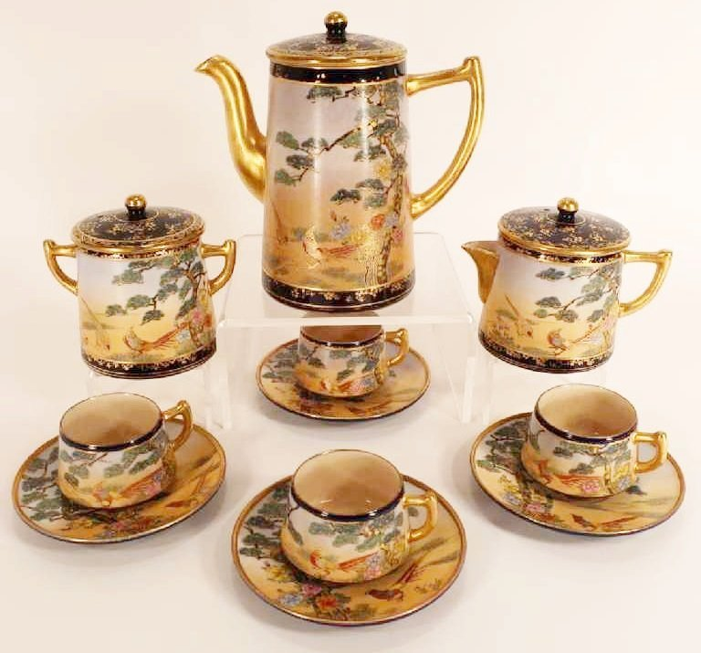 Vintage Japanese Satsuma Yaki Coffee Service