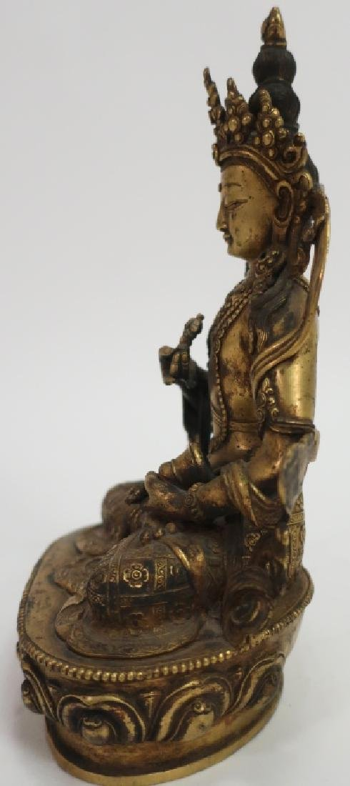 Sino-Tibetan Gilt Bronze Vajrasattava, 18th C. - 4
