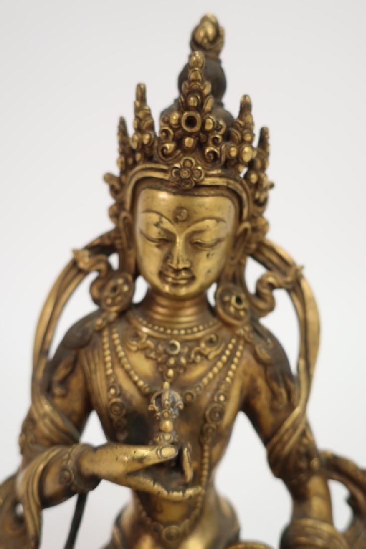 Sino-Tibetan Gilt Bronze Vajrasattava, 18th C. - 5