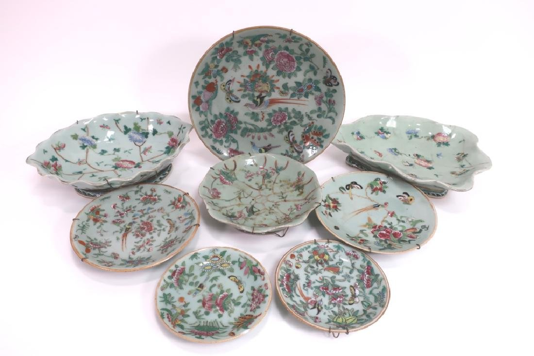 8 Chinese Porcelain Dishes, 19th c.