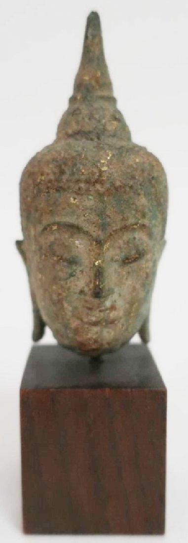 Thai Small Bronze Head, Ayutthaya Prd. 16-18th C.