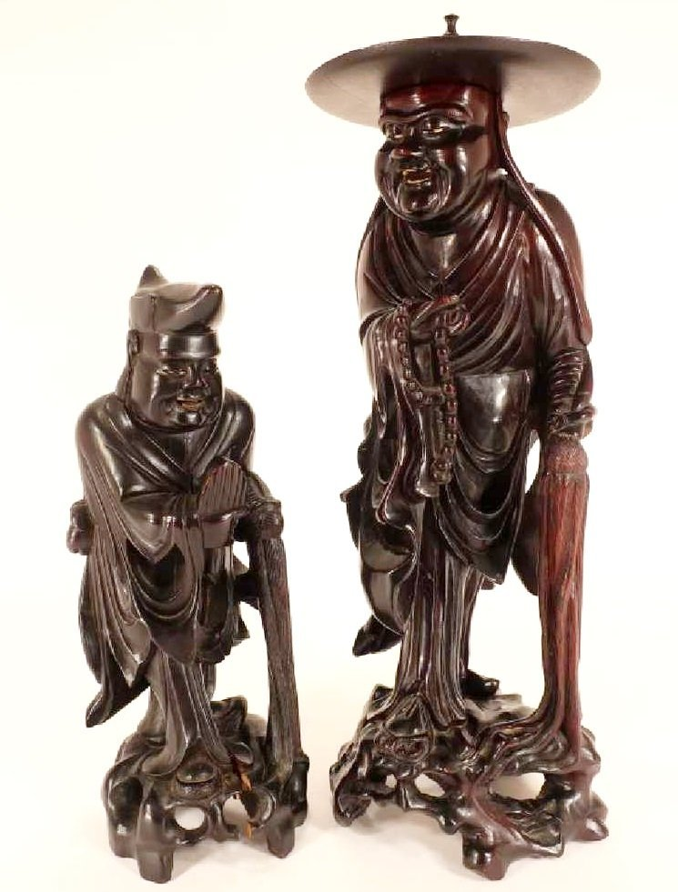 Two Chinese Carved Sandalwood Immortal Sculptures