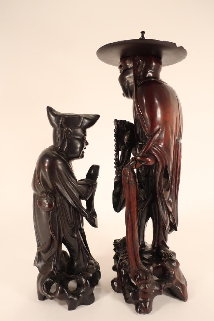 Two Chinese Carved Sandalwood Immortal Sculptures - 2