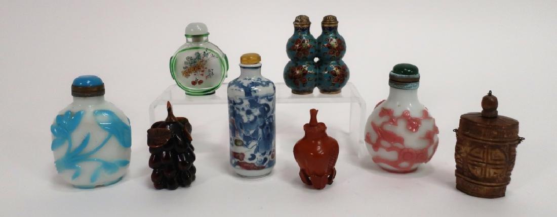 Chinese Snuff Bottles, Glass, Porcelain, Cloissone
