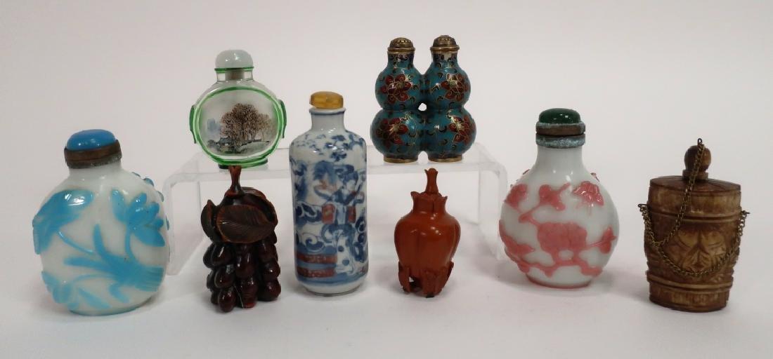 Chinese Snuff Bottles, Glass, Porcelain, Cloissone - 2