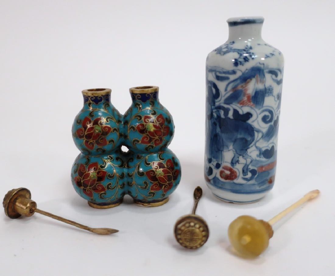 Chinese Snuff Bottles, Glass, Porcelain, Cloissone - 5