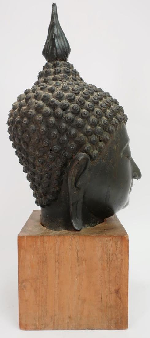 Antique Bronze South East Asian Head of Buddha - 2