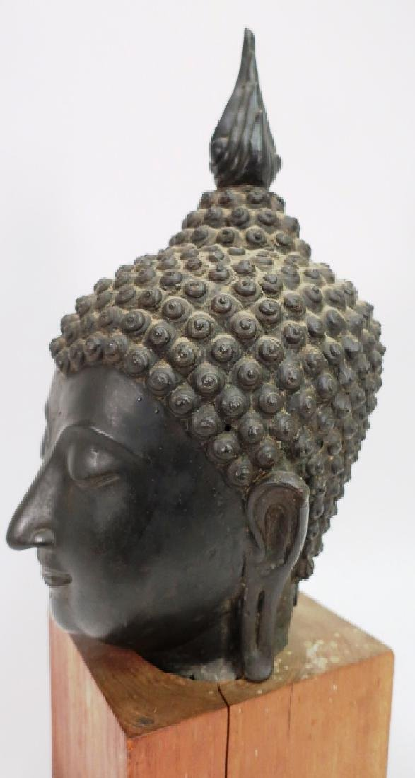 Antique Bronze South East Asian Head of Buddha - 4