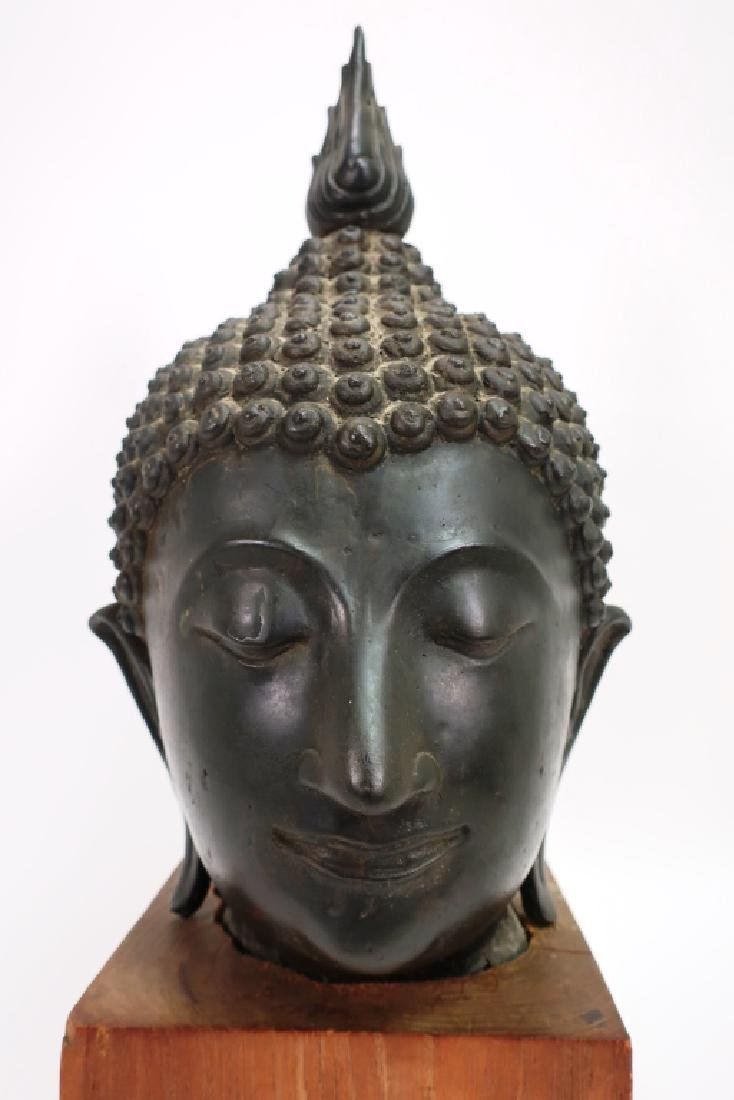 Antique Bronze South East Asian Head of Buddha - 5