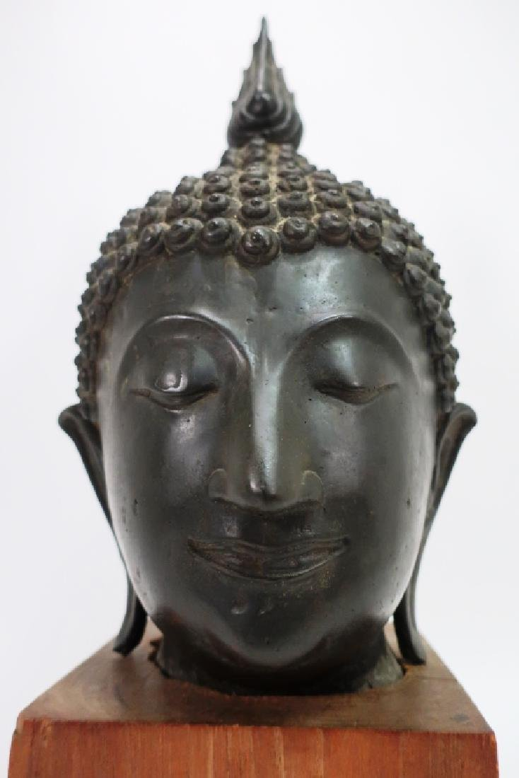 Antique Bronze South East Asian Head of Buddha - 6