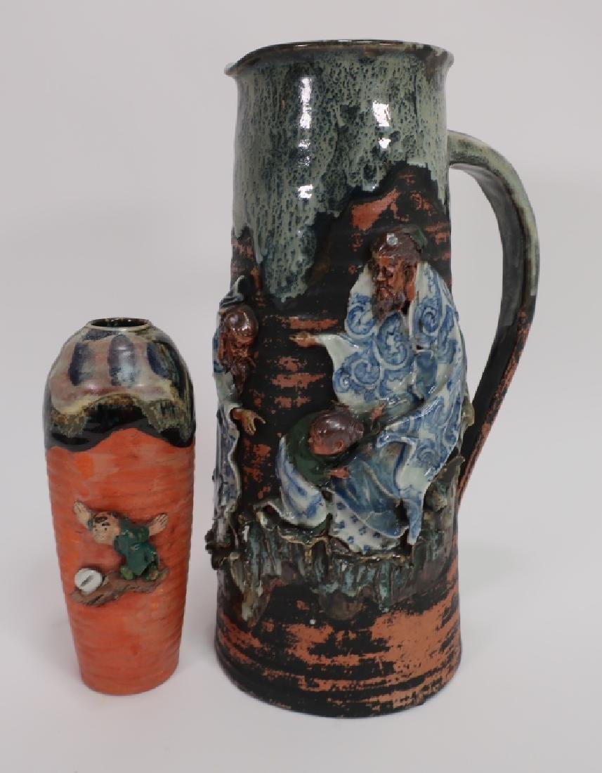 Japanese Sumida Gawa Pottery Tankard & Vase