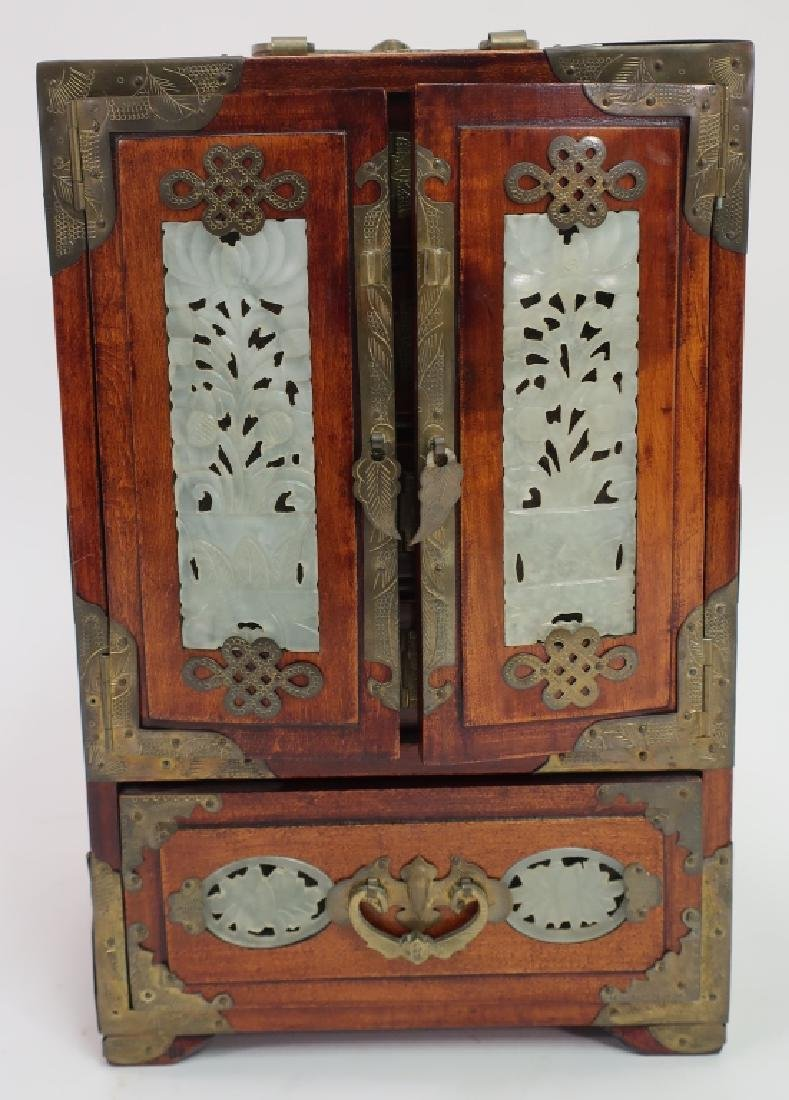 Chinese Fitted Box w Jade & Plaque on Stand - 2