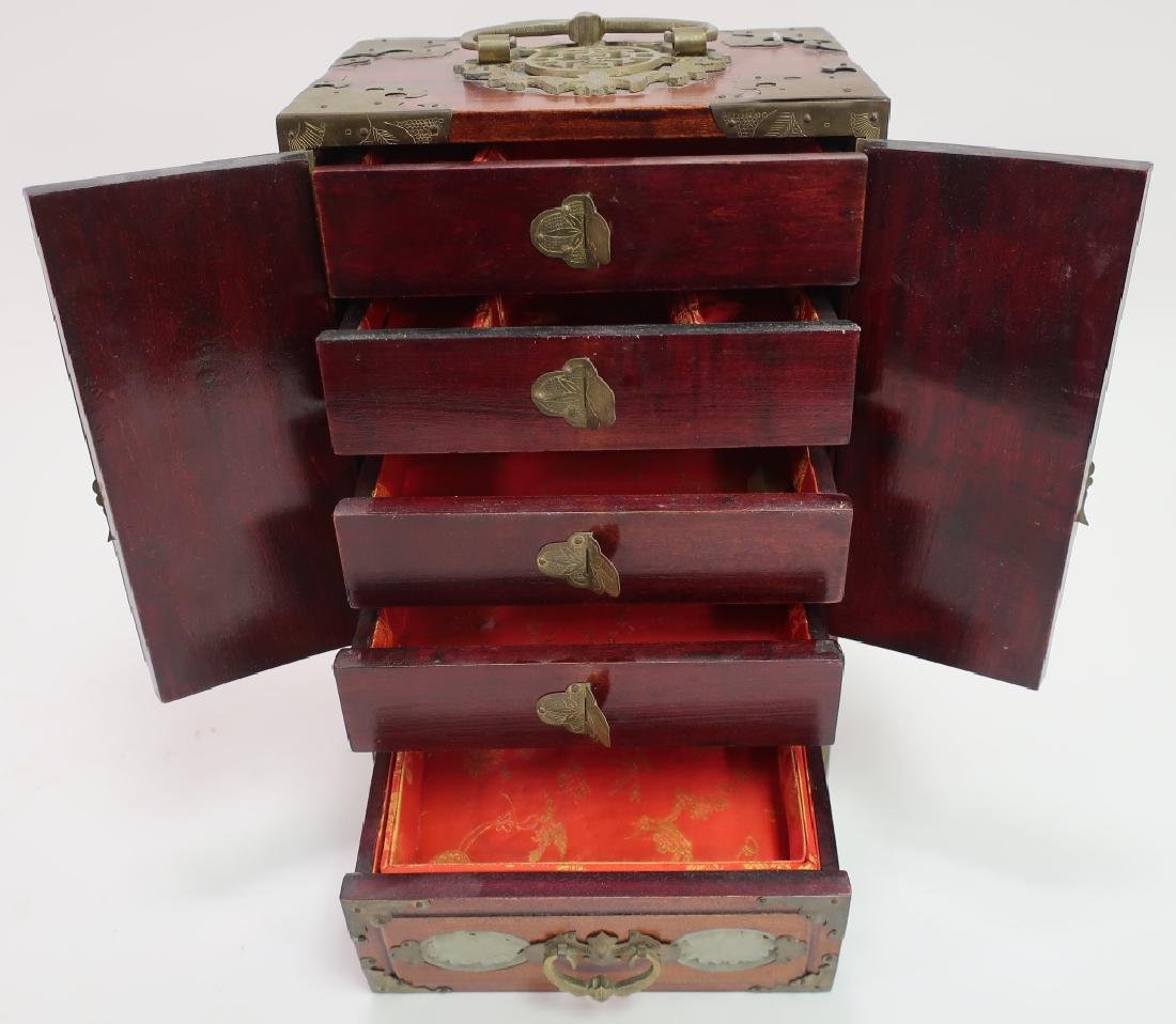 Chinese Fitted Box w Jade & Plaque on Stand - 3