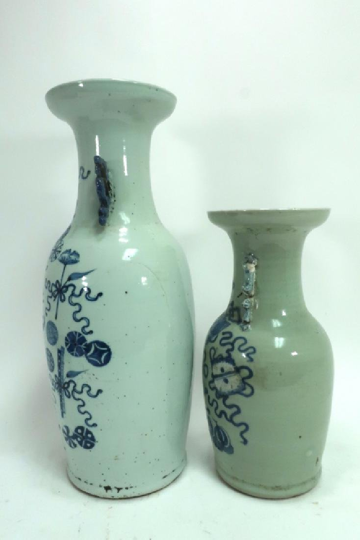 Two Blue and White Chinese Vases - 2