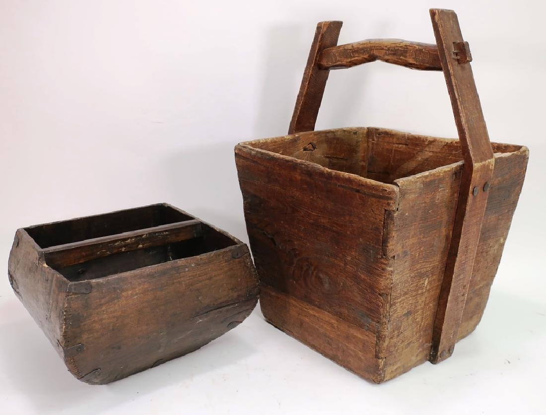2 Asian Wooden Handled Buckets,19th C.