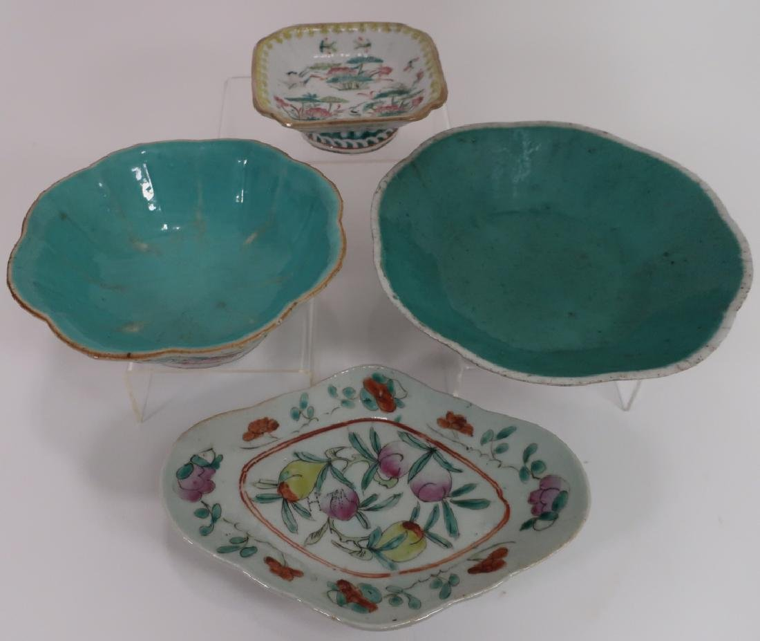 4 Famille Rose Chinese Export Plates & Bowls
