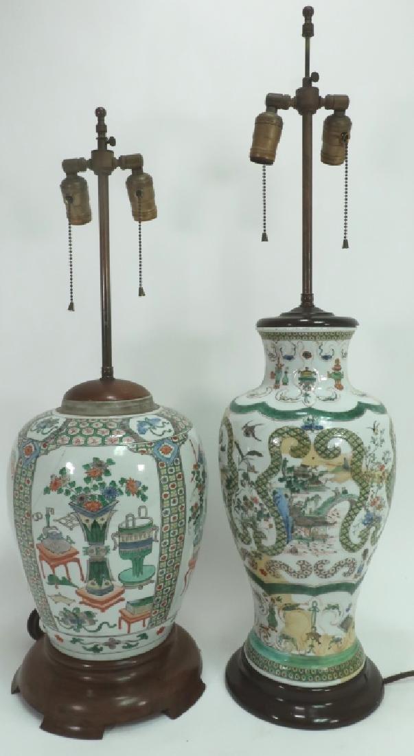 Lot of 2: Chinese Famille Verte Porcelain Lamps