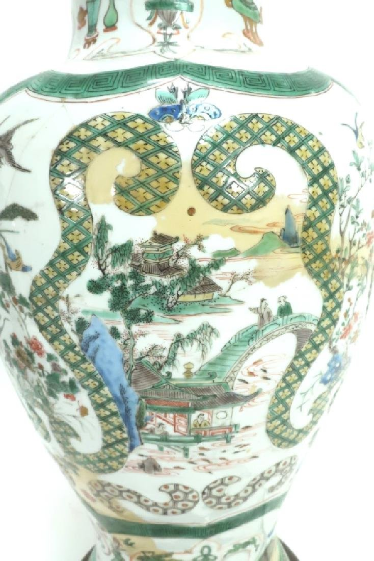 Lot of 2: Chinese Famille Verte Porcelain Lamps - 4