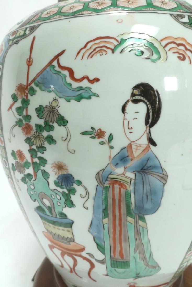 Lot of 2: Chinese Famille Verte Porcelain Lamps - 6