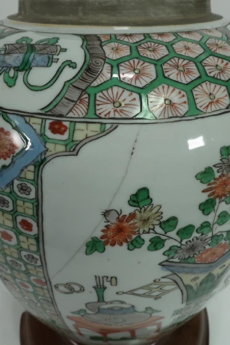 Lot of 2: Chinese Famille Verte Porcelain Lamps - 7