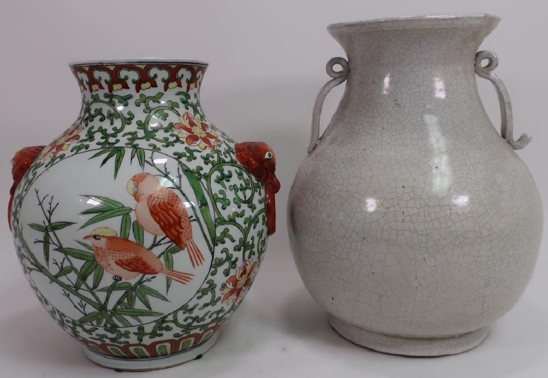 2 Asian Vases, White Crackle Glaze & Birds
