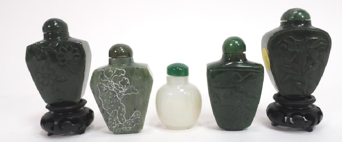 4 Green & a White Jade Chinese Snuff Bottles