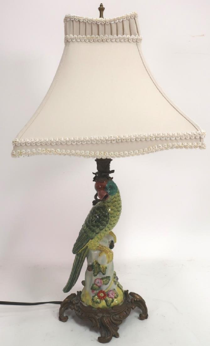 Asian Porcelain Lamp in Form of Parrot, Silk Shade