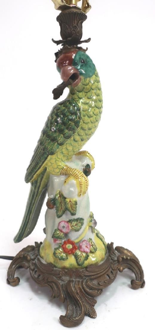 Asian Porcelain Lamp in Form of Parrot, Silk Shade - 2