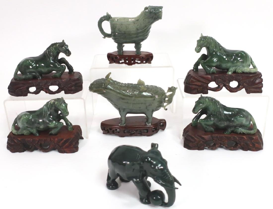 Group of Chinese Jade Carving of Horses, et al.