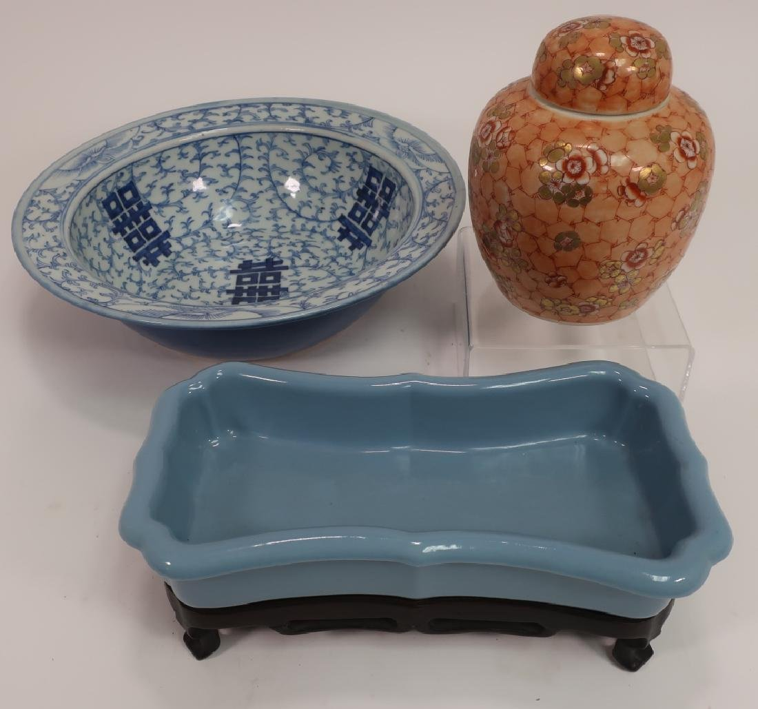 Chinese Jardiniere, Wedding Bowl & Covered Jar