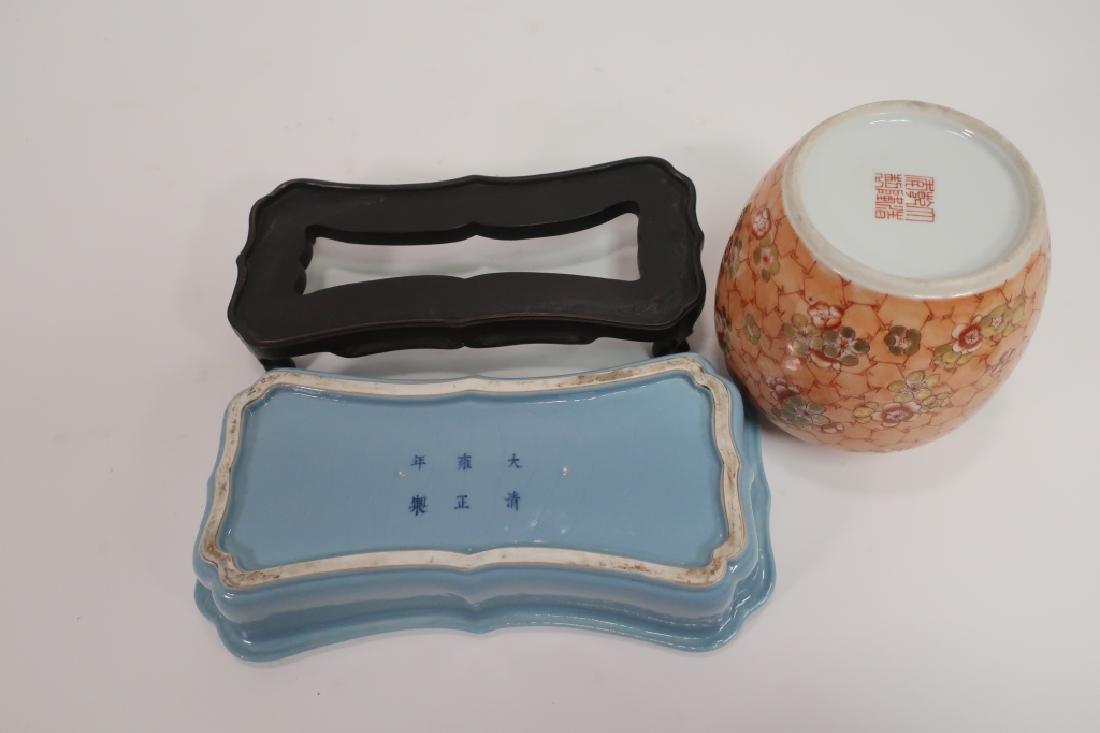 Chinese Jardiniere, Wedding Bowl & Covered Jar - 5