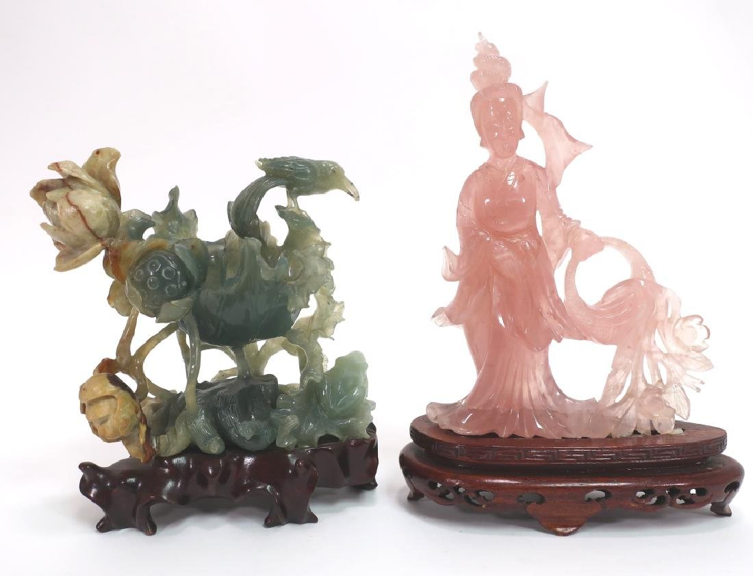 Chinese Carved  Jade Lotus and Quartz Kwan Yin