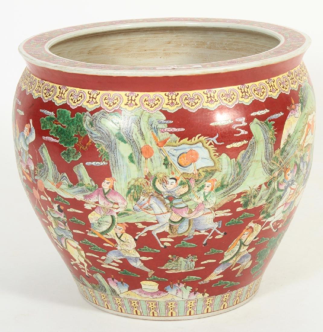 Large Chinese Fishbowl/Jardiniere, Figural Scenes - 2