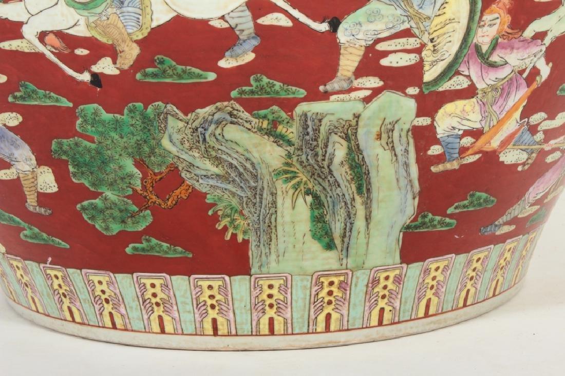 Large Chinese Fishbowl/Jardiniere, Figural Scenes - 4