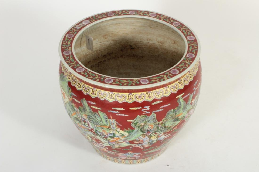Large Chinese Fishbowl/Jardiniere, Figural Scenes - 5