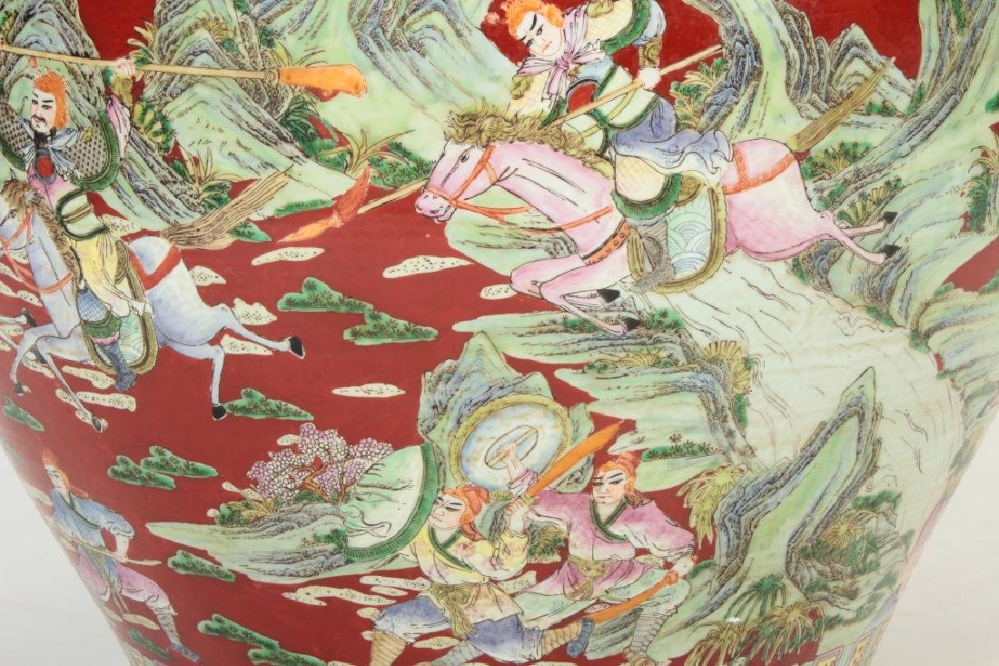 Large Chinese Fishbowl/Jardiniere, Figural Scenes - 7