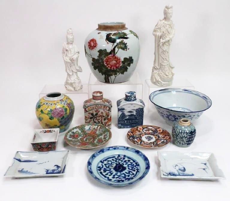 Lot of 14: Asian Items Quan Yin  Bowls Jars Plates